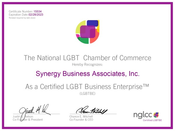 NGLCC® LGBTBE® Certificate Synergy Business Associates, Inc._page-0001